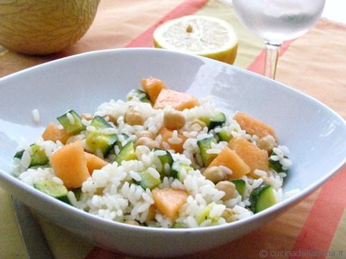 Insalata di riso, ceci e melone