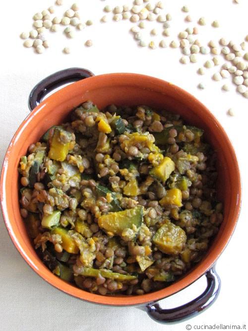Stufato di lenticchie e zucca