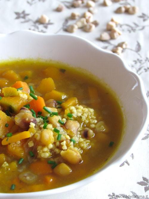 Zuppa di cicerchie, miglio e zucca