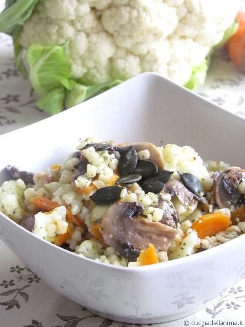 Fregola con verdure e champignon