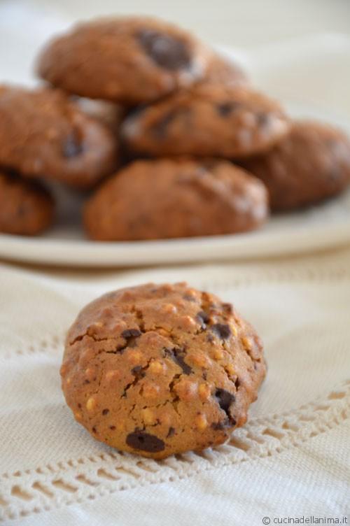 Biscotti al miglio soffiato, nocciole e cioccolato #gluten#free