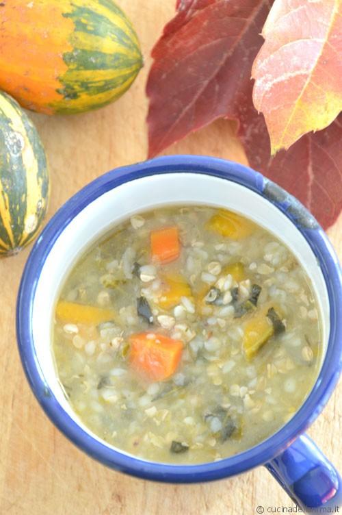 Zuppa: zucca, cavolo nero e grano saraceno